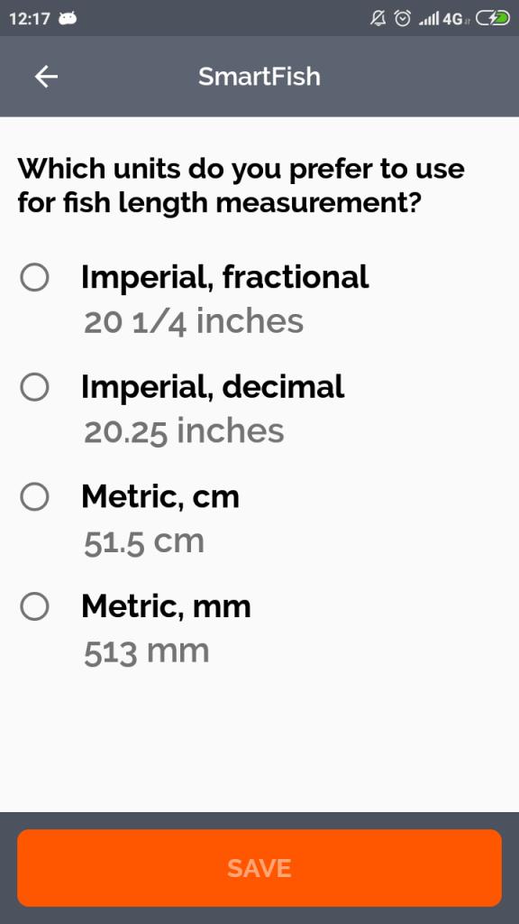 Length Units Selection Screen