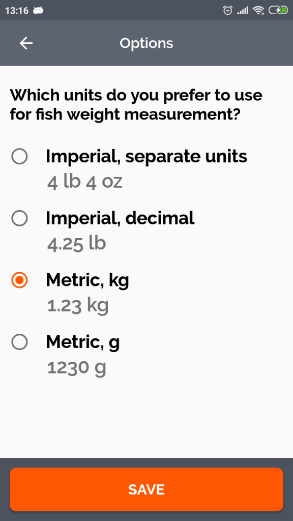 Weight Units Selection Screen